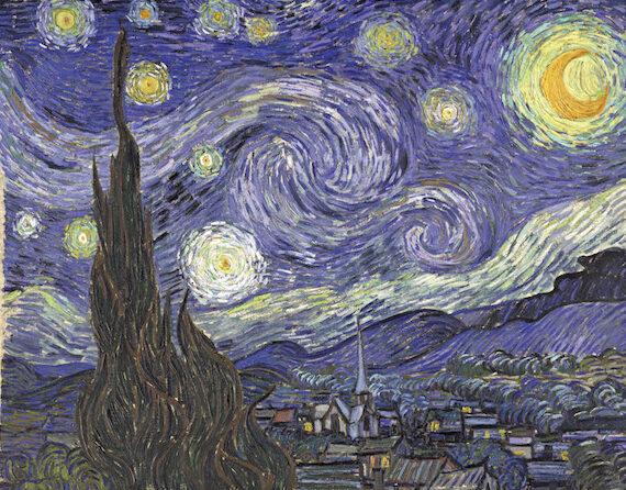 Nachtgedanken Marlies Blauth- Vincent van Gogh-Sternennacht - kreisende sterngebilde in den Himmelswogen