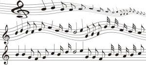 schreibimpuls auf klangspuren unterwegs - schwungvolle notenlinien laden dazu ein und machen klang sogar sichtbar