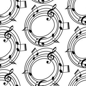 Wirkung gebundener Sprache Versmass Rhythmus Martin Opitz und Eichendorff - Reihen mit Kreisen aus Notenlinien und Noten