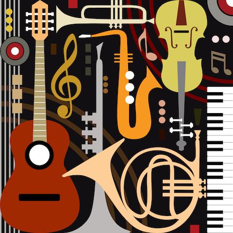 mit Klangspuren im Gedicht Stimmungen erzeugen: Bunte Illustration mit Musikinstrumenten Depositphotos_10533907