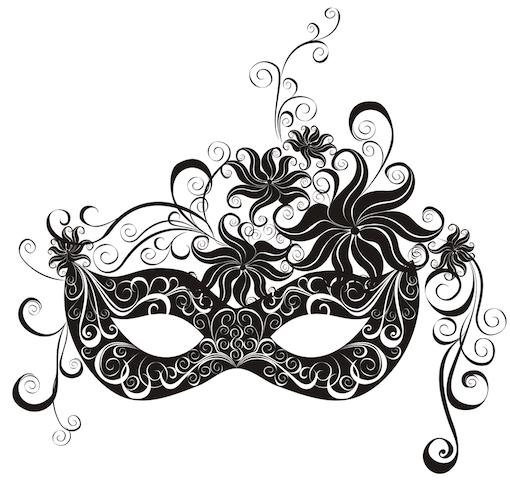 Artikel das lyrische Ich - schwarzgraue Illustration einer graphisch verspielten Augenmaske