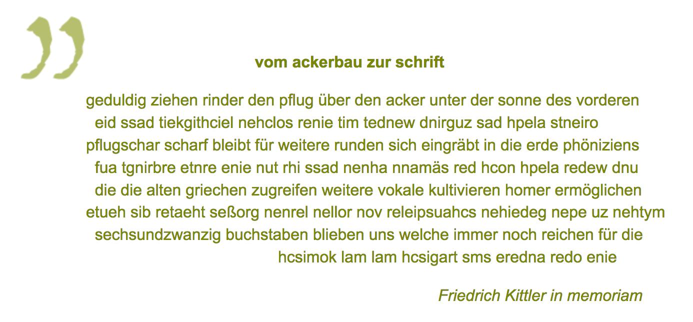 """Werner K. Bliß-Gedichttext """"vom ackerbau zur schrift"""" zeilenlauf geht in mäandern von links nach rechts und wieder nach links zurück"""