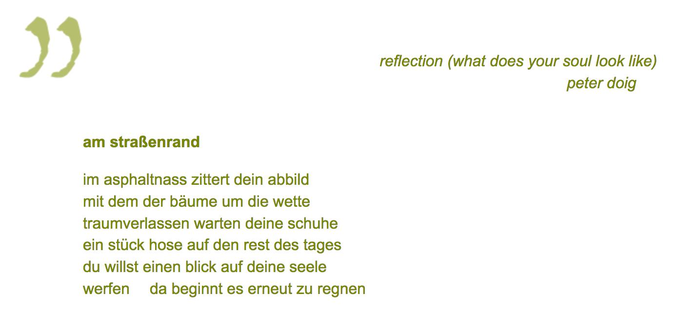 """Werner K. Bliß - gedichttext """"am straßenrand"""" zu m gemaelde """"reflection"""" von peter doig"""
