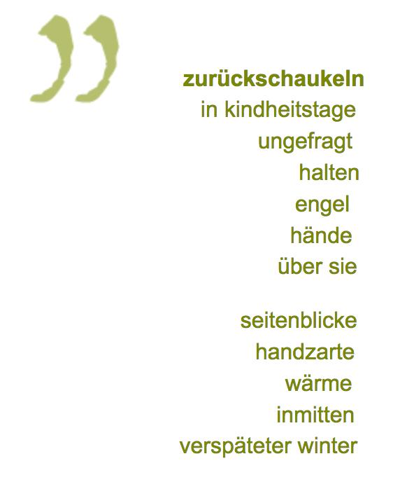 """Werner K. Bliß rechtsbündiger gedichttext """"zurückschaukeln"""""""