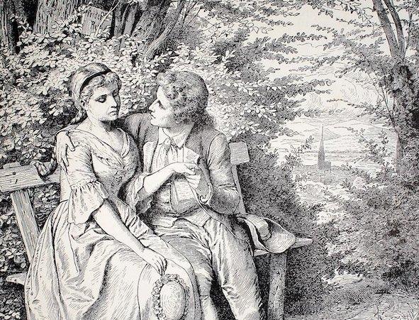 Johann-Wolfgang-Goethe-mit-Friederike-Brion-auf-lauschiger-Bank-in Sesenheim-nach-Dichtung-und-Wahrheit-