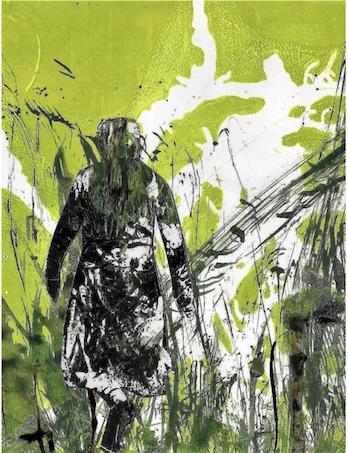 Magret-Peper-Collage-o.T.-2013-schwarze-Schttenfigur -mit-hell-bis-dunkelgruener-Landschaftsflaechen-verschmolzen-die-mit-weissen-Flecken- durchzogen-sind